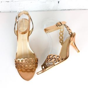 Loeffler Randall rose gld metallic laser cut heels